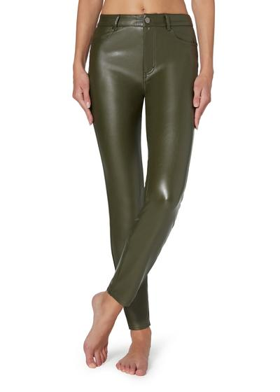 Thermal leather-effect pants