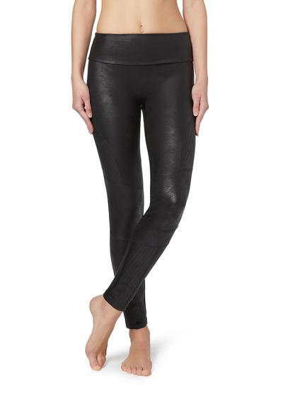 Total-Shaper-Leggings im Bikerstil mit Lederoptik