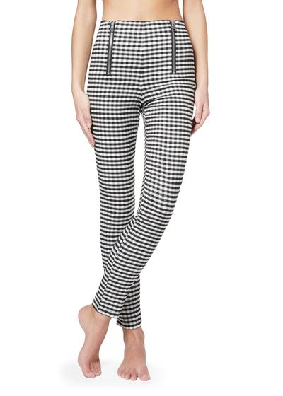 Vichy-patterned zip-up leggings