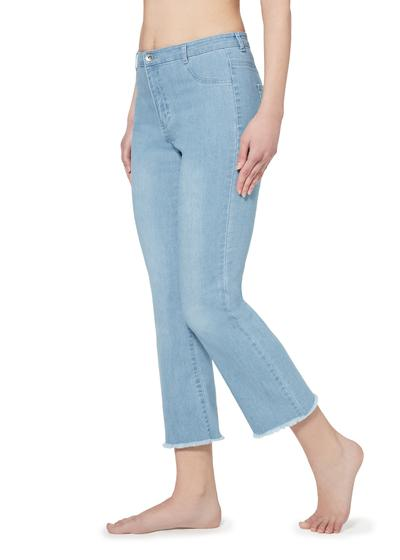 Cropped flare zip-up jeans with pockets