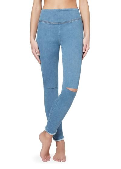 Ripped denim leggings with frayed hem