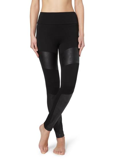 Total-Shaper-Leggings mit Biker-Einsätzen in Lederoptik