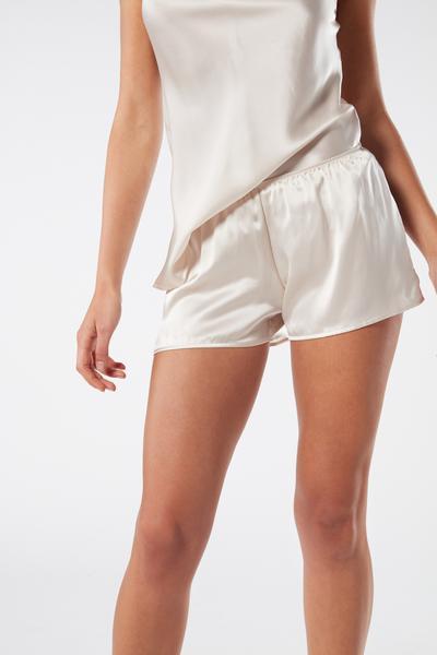 Pantalón corto Liso de Raso de Seda