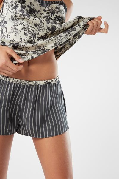 Shorts in Raso di Viscosa Grey Deco