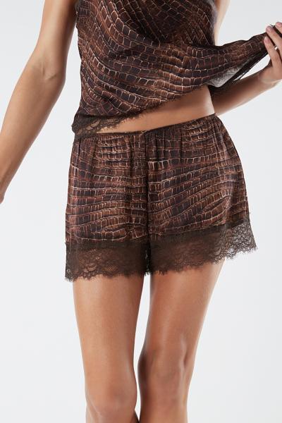 Lady Crocodile Shorts aus Viskosesatin