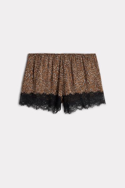 Viscose Satin Wild Animalier Shorts