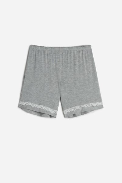 Pantaloncino in Modal con Dettagli in Pizzo