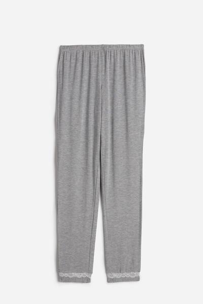 Pantalone Lungo in Modal con Dettagli in Pizzo