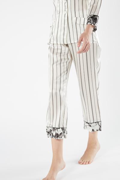 Pantaloni in Seta Floral Pinstripe