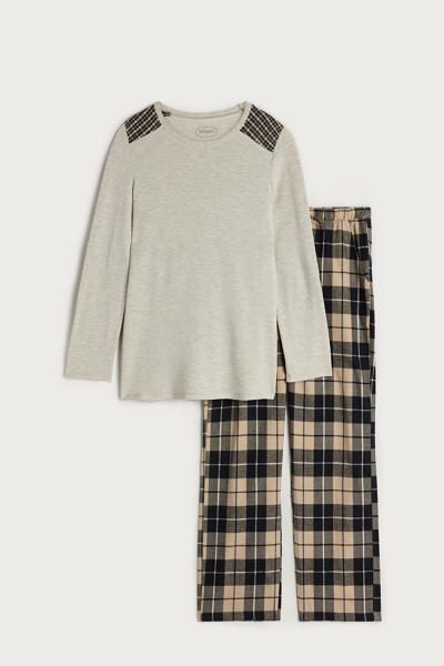Langer Pyjama aus Modal und Kaschmir mit Glencheck
