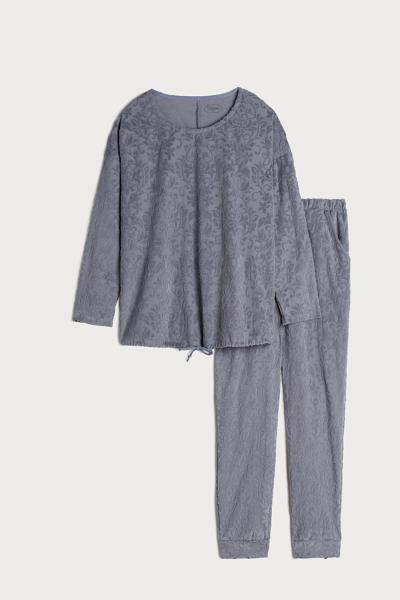 Damask Pattern Long Pajamas in Cotton Chenille