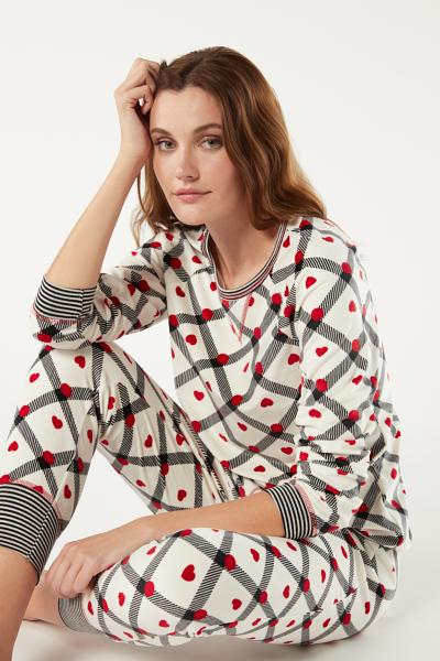 Long Pajamas in Hearts and Dots Print