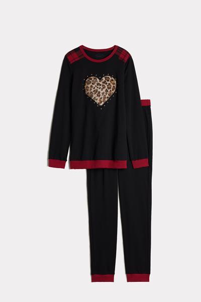 Long Interlock Pajama with Leopard Heart