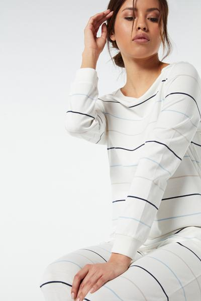 Long Ribbed and Striped Cotton Pyjamas