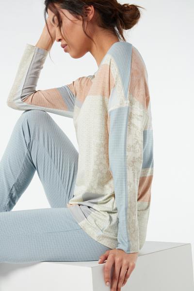 Jacquard Kidolgozású Modál Hosszú Pizsama