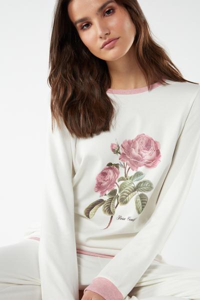 Pijama Largo con Estampado de Rosa Centifolia