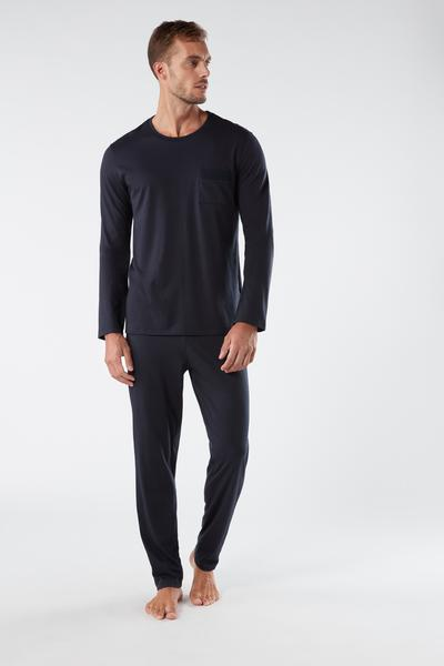 Langer Pyjama aus Supima-Baumwolle Basic