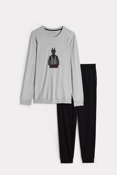 Long Doberman Embroidery Pajama