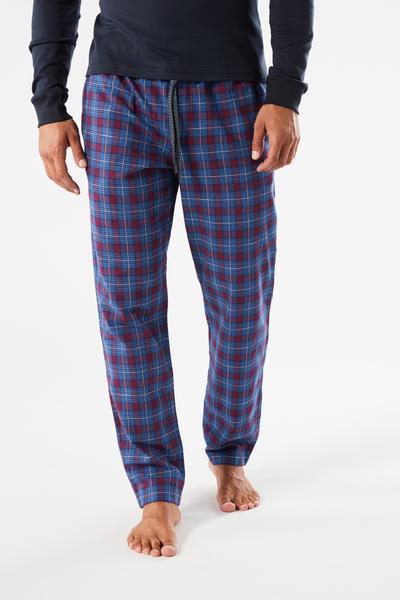 Pantalones Largos de Algodón a Cuadros