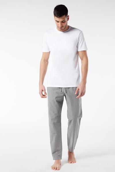Long Pinstripe Canvas Trousers