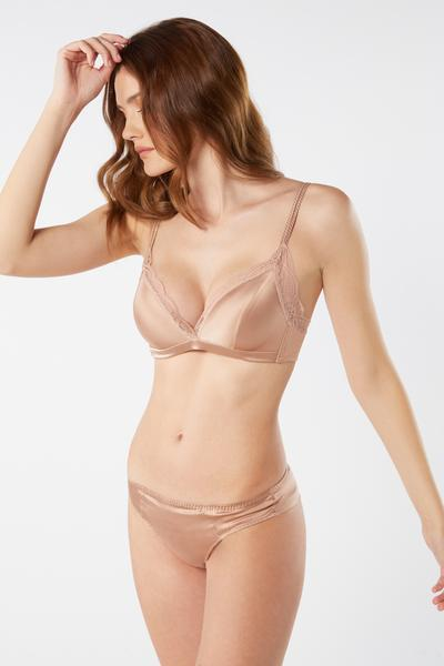 Tiziana Silk and Lace Triangle Bra