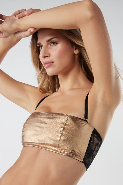 Leather Flower Bandeau Bra