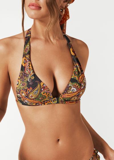 Top de bikini de triángulo con relleno Carla