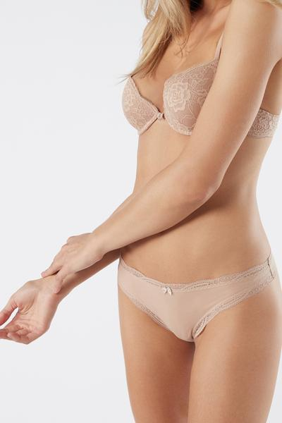 Cotton and Lace Brazilian Briefs