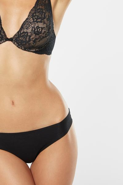 Laser-Cut Lace and Cotton Brazilian Briefs