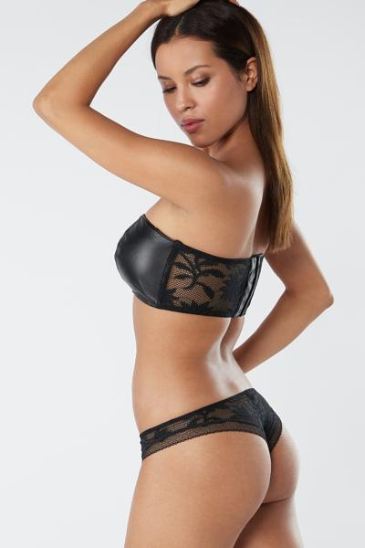 Leather Flower Brazilian Briefs