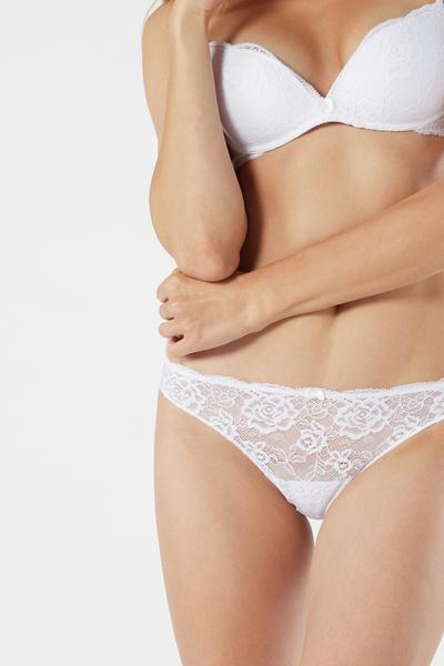Lace And Microfibre Cheeky Briefs