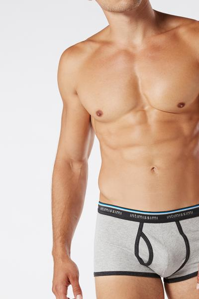 Ribbed Stretch-Cotton Boxers with Logo Detail