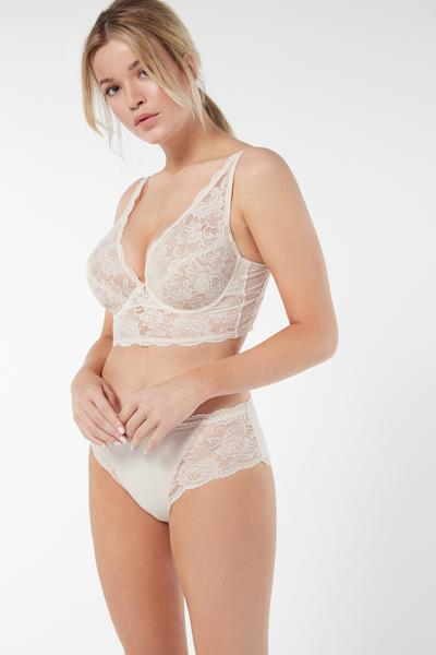 Natural Cotton and Lace Briefs