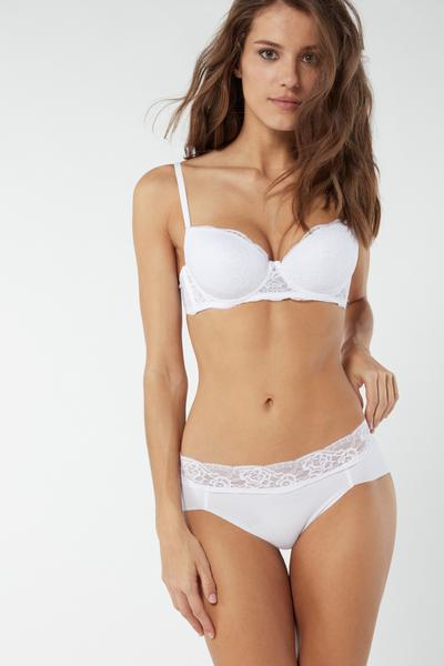 Lace and Raw-Cut Cotton Briefs