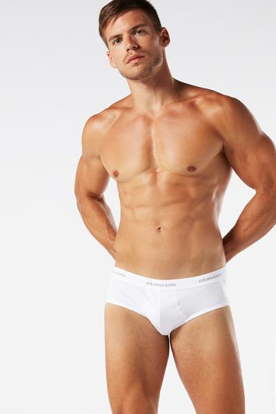 Men's Stretch-Cotton Briefs with Logo Detail