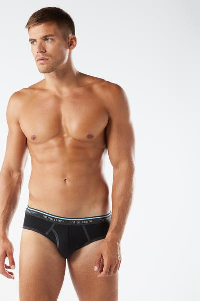 Logo Detailed Ribbed Stretch-Cotton Briefs