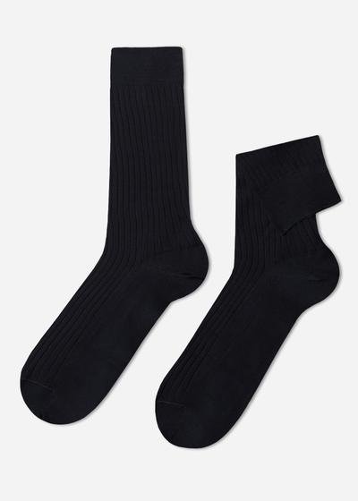 Short Ribbed Egyptian Cotton Socks
