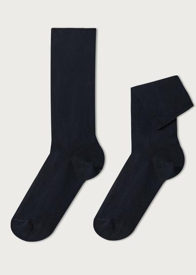 Short cuffed cotton socks, no elastic
