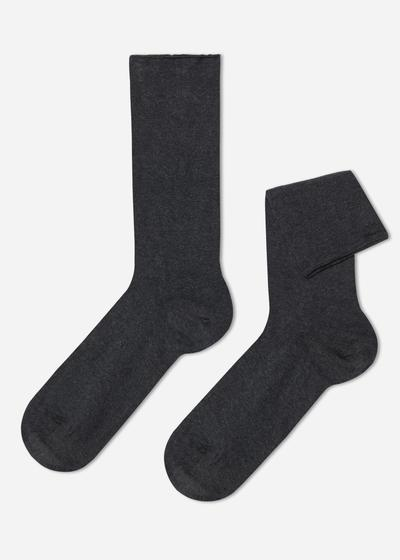 Short cuffed cotton socks, no elastic