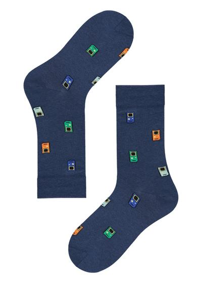 Funny-patterned cotton ankle socks