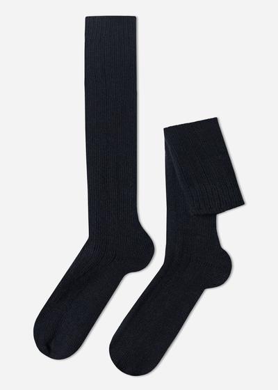 Calcetines largos Acanaladas con Lana y cashmere