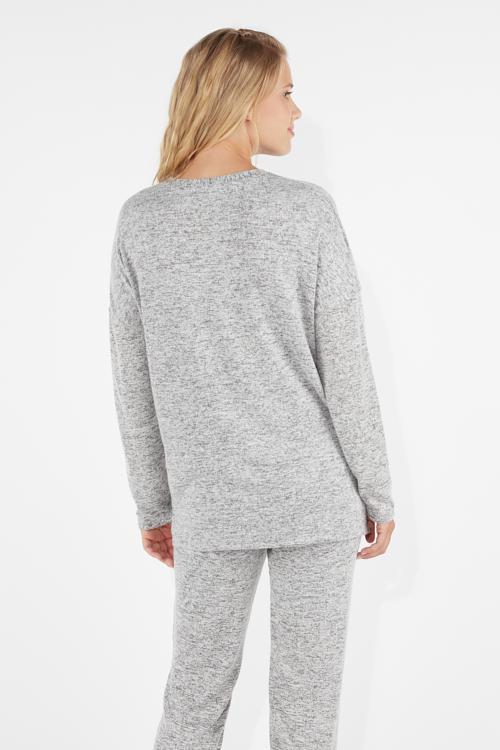 9e9354d861bb Μακρυμάνικη Μπλούζα Loungewear με Λαιμόκοψη σε Σχήμα V