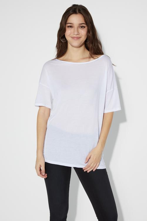 Φαρδύ T-shirt με Λαιμόκοψη Χαμόγελο 8c736770090
