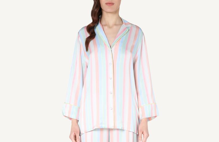 790e7837ee Camisa de Raso de Viscosa Multicolor Stripes