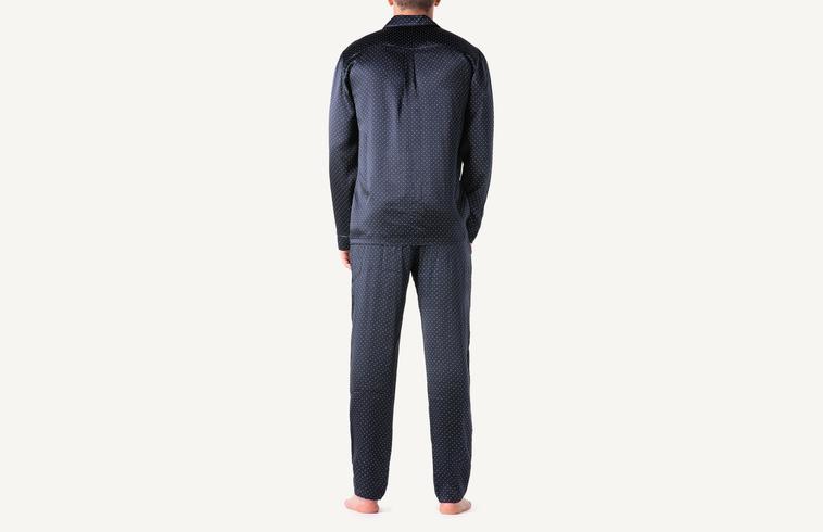 fae8fa65079b4 Длинная пижама из шелка с пуговицей и принтом