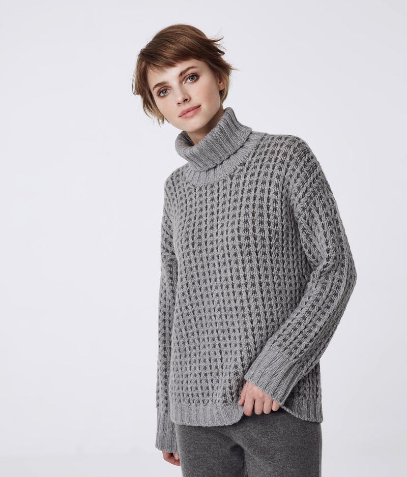 2de2e1f8 Two-tone Cashmere Cable Knit Sweater